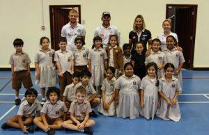 Bekatorou and Trigonis with Abu Dhabi Sailing Club representatives and Al Muna Primary School pupils