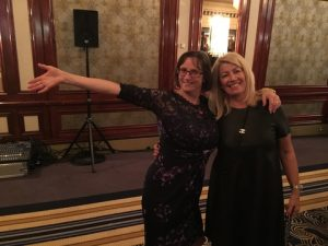 In a jubilant mood, Bridget Hogan (pointing to table one) with Anny Zade