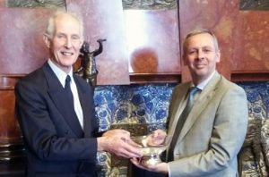 Julian Parker OBE (left), Chairman of the Organising Committee presents the award to Richard Sadler, CEO of LR.