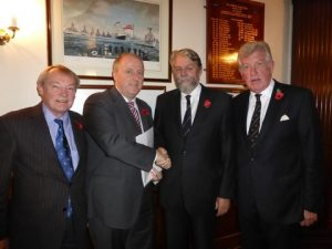 Philip Hayden & Ian Millen from the Propeller Club presenting collection to Alan Watson, HMS Medusa & Commander Philip Ingham, Chief Executive of the Naval Club.