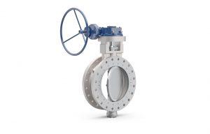 Illustration of a new Wärtsilä Shipham Valves 8-inch size, 150 lbs duplex butterfly valve.