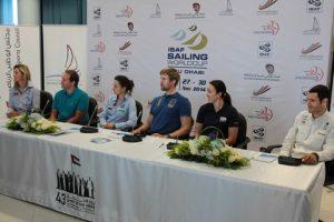 (l to r): Sofia Bekatorou (GRE), Regatta Manager Ben Remocker, Lara Vadlau (AUT), Björn Allansson (SWE), Briana Provancha (USA) and Anton Paz (ESP)