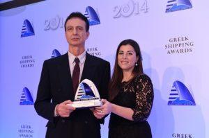 "15)Capt. Nikolaos Douskos, Master of m/v ""Patris"" receiving the Seafarer of the Year Award from Alexandra Andreadis Tsavliris of sponsor Tsavliris Salvage Group."