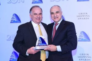 21)Petros Pappas receiving the Greek Shipping Personality of the Year Award from Andy Georgiou of sponsor, the Royal Bank of Scotland.