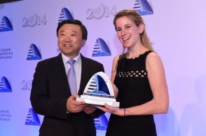 8)Zhou Haisheng of CCS accepting the Shipping Financier of the Year Award, on behalf of the winner The Export-Import Bank of China, from Milena Pappas of sponsor Star Bulk Carriers Corp.