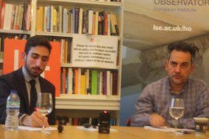 Alexander Kentikelenis with meeting chairman Dr Vassilis Monastiriotis ofthe LSE.