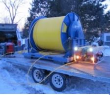 Falcon with 5km umbilical winch on trailer at Toronto Deep Lake Cooling Project.