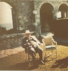 Winston in his later years in the grounds of his beloved Chartwell House in Kent