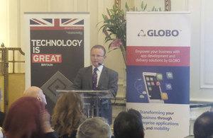The British Ambassador John Kittmer at the podium