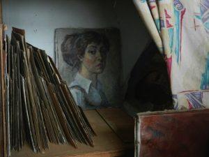 Irina Kovaleva's studio, with self-portrait. Photo courtesy John Barkes.