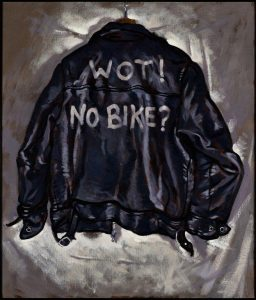 WOT! NO BIKE? 2014. Oil on canvas. By Paul Simonon. C the artist.