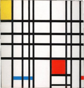Composition with Yellow, Blue and Red. Oil on canvas. 1937-42. By PietMondrian. C DACS, London/VAGA, New York 2014. Courtesy Tate Collection.