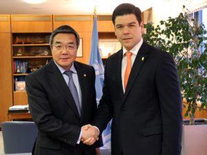 IMO's SG Koji Sekimizu with Panama's Ambassador H.E. Mr Daniel Fábrega,