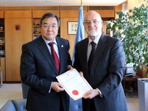 IMO's SG Koji Sekimizu with the Ambassador of Albania, H.E. Mr Mal Berisha