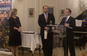 l to r; Eugenia D. Chandris, HAris Ikonomopoulos and  British Ambassador Mr John Kittmer