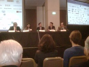 The panel at the session on Shipping & the Equity Capital Markets moderated by Lawrence Rutkoswski on the left