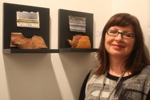 Linda Ingham with her works inspired by Lincolnshire seashore.