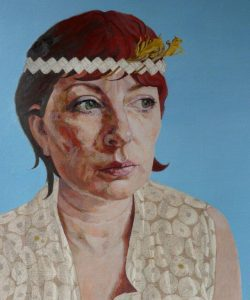 Linda Ingham - Easter Self-Portrait with Headband. Oil, jet and silverpoint on handmade ground Arches paper.