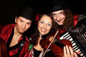 Gundula Gruen with guitarist Jamie Le Mercier (left) and accordionist JoshMiddleton.