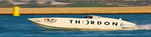 The Thordon-sponsored Super Cat Cajun 57 bearing up to stiff completion at the 2015 Qatar Cup