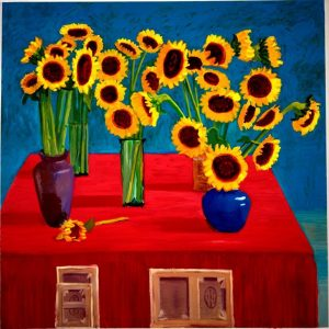 30 Sunflowers. Oil on canvas. By and (C) David Hockney. 1996. Photo RichardSchmidt.