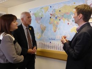 Jean Winfield with Gordon Marsden MP & Andrew Pakes looking at world shipping