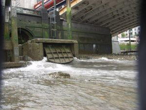 Sewage discharge outlet at Vauxhall Bridge