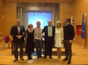 R.Adm (HCG) Stavros Michalidis, Prof. MAria Lekakou, Prof. Gelina HArlaftis, Captain Georgoulis, Captain Chrysa Tsalihi and Ilias Bisias