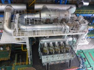High-pressure SCR system jointly developed by Winterthur Gas & Diesel Ltd and Hudong Heavy Machinery Co Ltd. The cylindrical SCR reactor unit is located in the exhaust duct from the engine cylinders to the turbocharger turbine inlet.