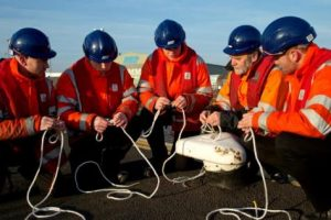 Marine Training Manager Martin Gough (second right) takes the current group of ABP marine apprentices through the intricacies of splicing ropes (image courtesy of ABP/David Lee Photography