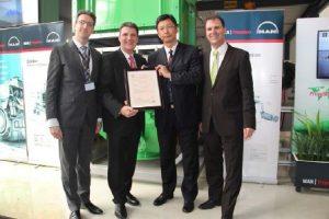 (From left) Dr. Daniel Struckmeier, Goetz Kassing, Sun Feng and Ralph Klaunig