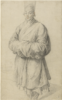 Man in Korean Costume, about 1617. Black chalk with touches of red chalk in the face. By Rubens. J Paul Getty Museum, Los Angeles.