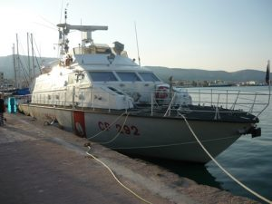 A Guarda Costiera patrol boat from Italy, part of the Frontex Force in the port of Chios