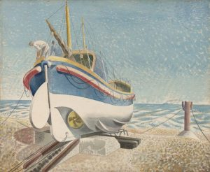 The Lifeboat. 1938. Watercolour and pencil on paper. By Eric Ravilious. Private Collection, on long term loan to Towner, Eastbourne.