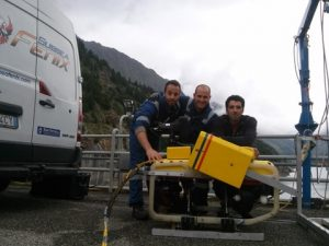 Subsea Fenix team with their 'Grasshopper' - the Falcon with the retractable system lowered.