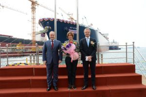 SCF Mitre LNGC naming ceremony S Korea 9 April 15 L to R. S Frank President & CEO Sovcomflot_ Mrs Maurien Wetselaar ship sponsor_ Maarten Wetselaar Royal Dutch Shell EVP Integrated Gas Upstream