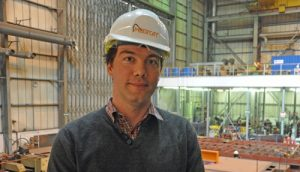 Meercat Workboats Operations Director James Lewis at the Portchester boatyard