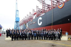 Naming ceremony of Barzan on 29th April at Hyundai Samho Heavy Industries in Mokpo, South Korea. The DNV GL classed vessel will operate on the Asia-Europe trade (Photo: Courtesy of UASC)