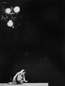 Uma Sharma performing Kathak Classical Indian Dance, beginning with vocal tribute to the poet Hafez in Mughal style - Open-Air Theatre, 1969.
