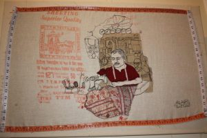 Machine embroidery in the market. By Harriet Riddell.