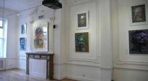 Evening light engages Dairo's art ahead of guests arriving at Consulate.