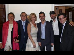 Ambassador of Colombia Nestor Osorio (second from left) with his wife Paola Napoli (left); curator Carola Syz; artist Dairo Vargas; Fernet Branca sponsor Davide Goldstaub; and  Consul of Colombia Rafael Merchan.