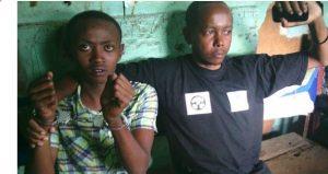 Handcuffed Mwangi Manjoya and Joseph Ndiritu under Police arrest in Nairobi