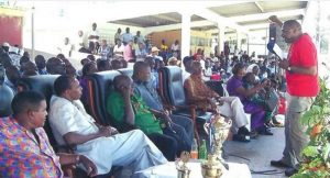 ITF's Joe Katende addresses the MAy Day rally in Mombasa, Kenya