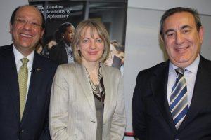 His Excellency Euripides Evriviades, Lithuanian Ambassador Asta SkaisgirytėLiauskiené, and London Academy of Diplomacy director Dr Joseph Mifsud.