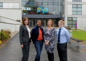 l to r: Kim Morgan (MacGregor), Anna Angbazo (MSc Corporate Communications Student), Lisa Dunn (Aberdeen Business School Placement Manager) and Sam McKinstrie (Aberdeen Business School Placement Officer)