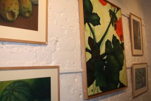 Some of Alexandra's works including Geranium, oil on canvas