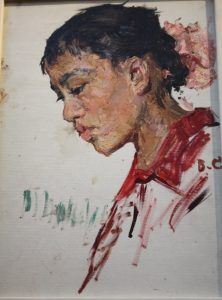 A Girl from Tuva on the Volga. 1969. Oil on board. By Valentina Savelieva.