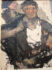 One of the Workers. 1968. Oil on board. By Valentina Savelieva.