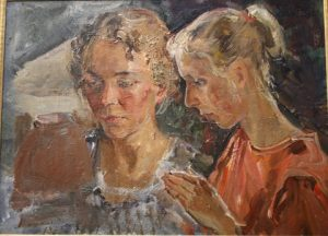 Students of the Ceramics Department. 1973. Oil on board. By Galina Mischchenko.